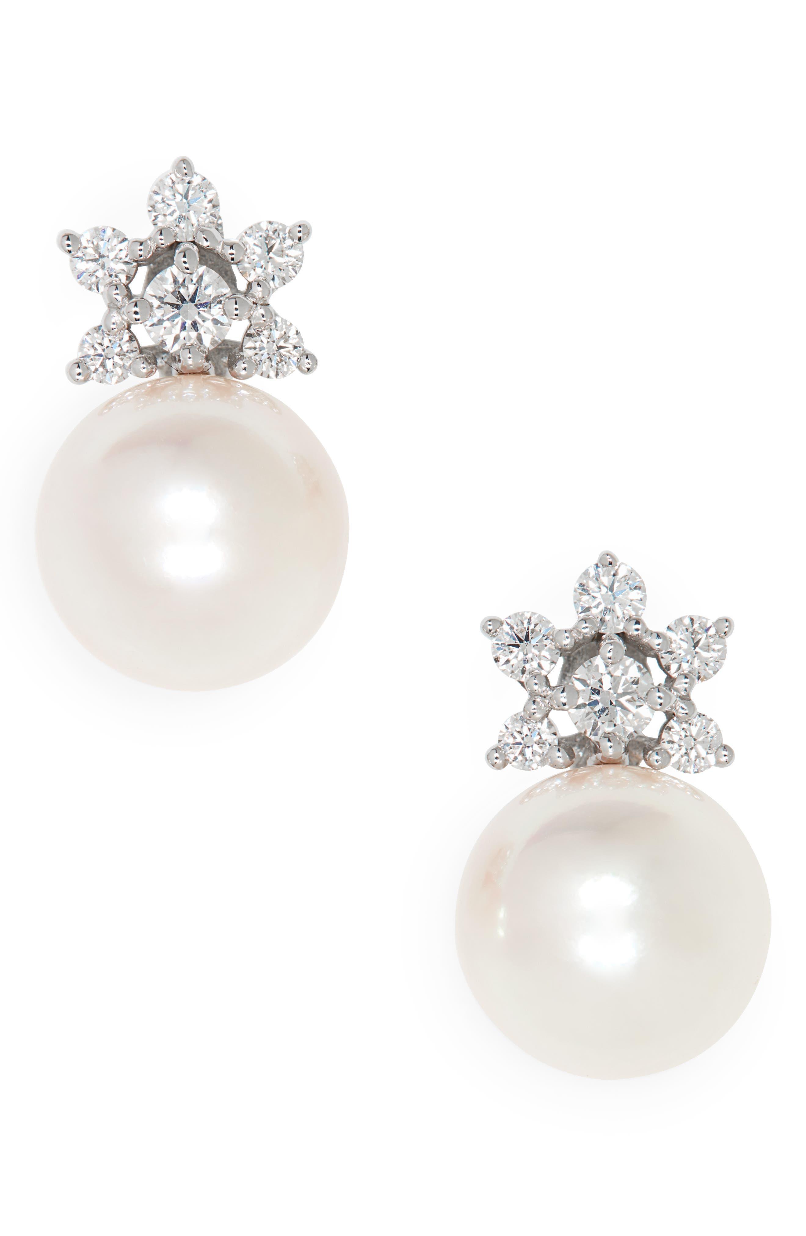 Akoya Cultured Pearl & Diamond Stud Earrings