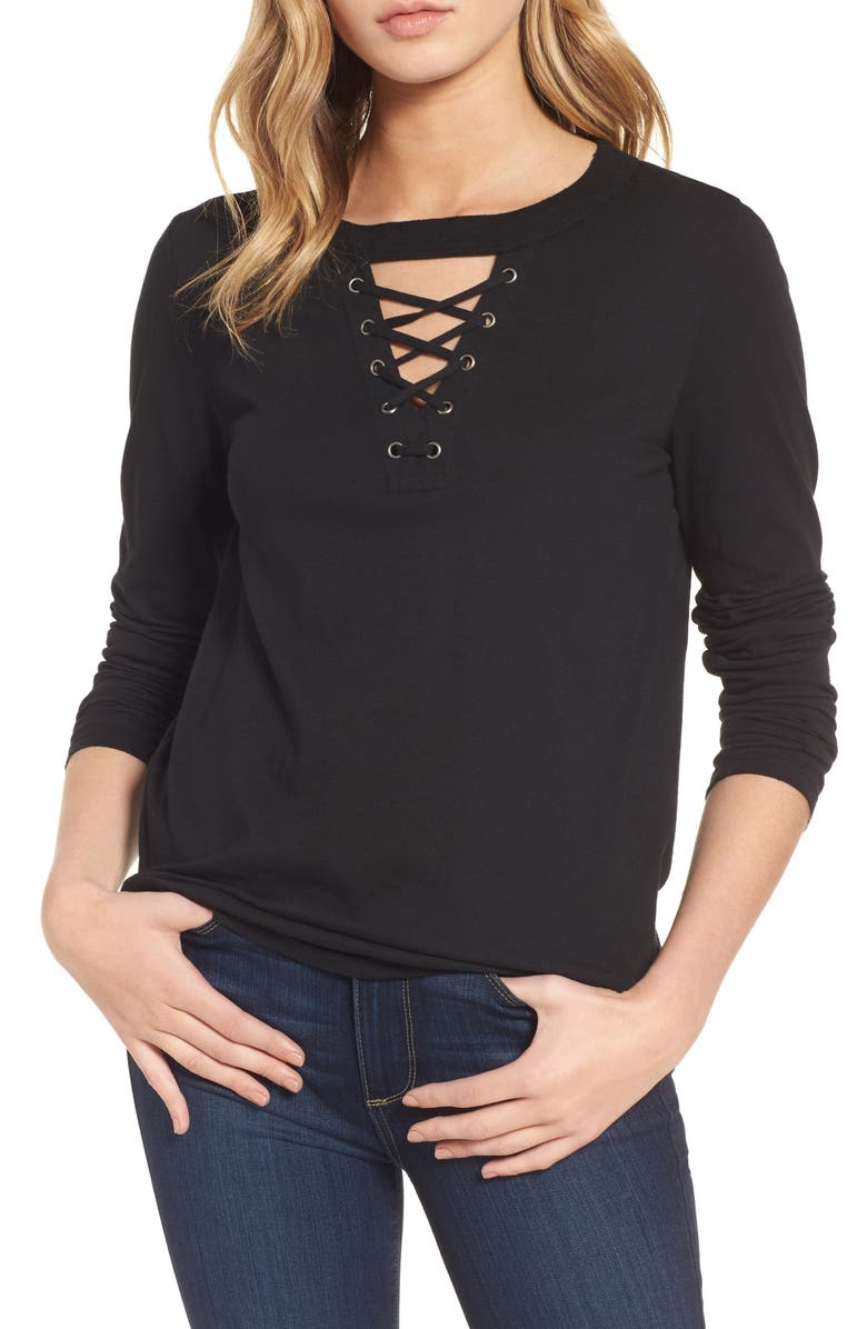 N:PHILANTHROPY Thorn Lace-Up Tee, Main, color, 001