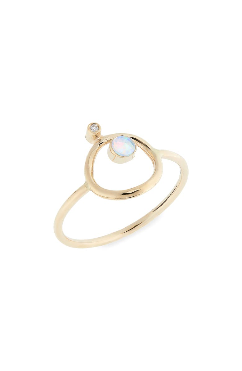 SOFIA ZAKIA Orbitus Opal & Diamond Ring, Main, color, GOLD