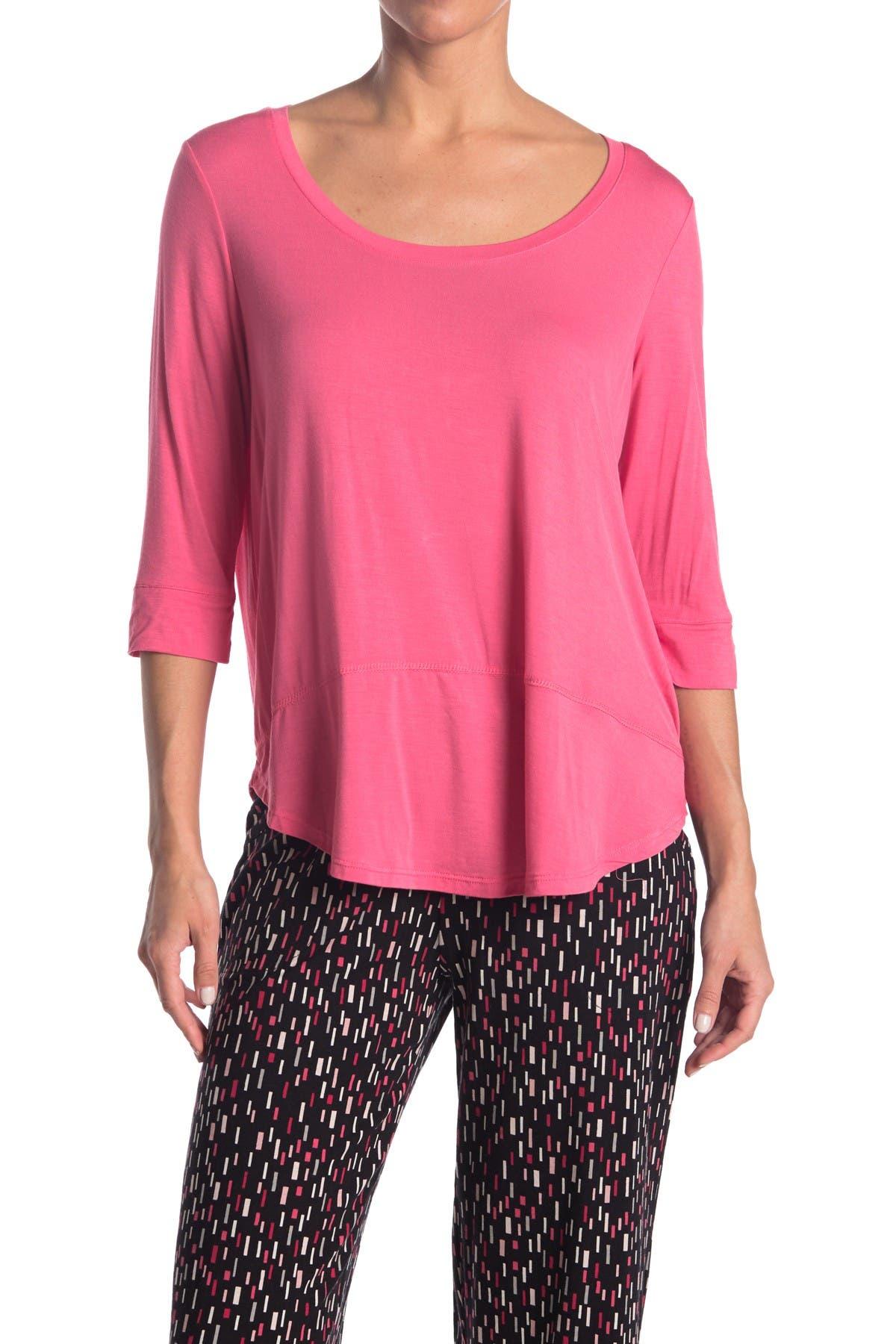Image of HUE Solid 3/4 Sleeve Pajama T-Shirt
