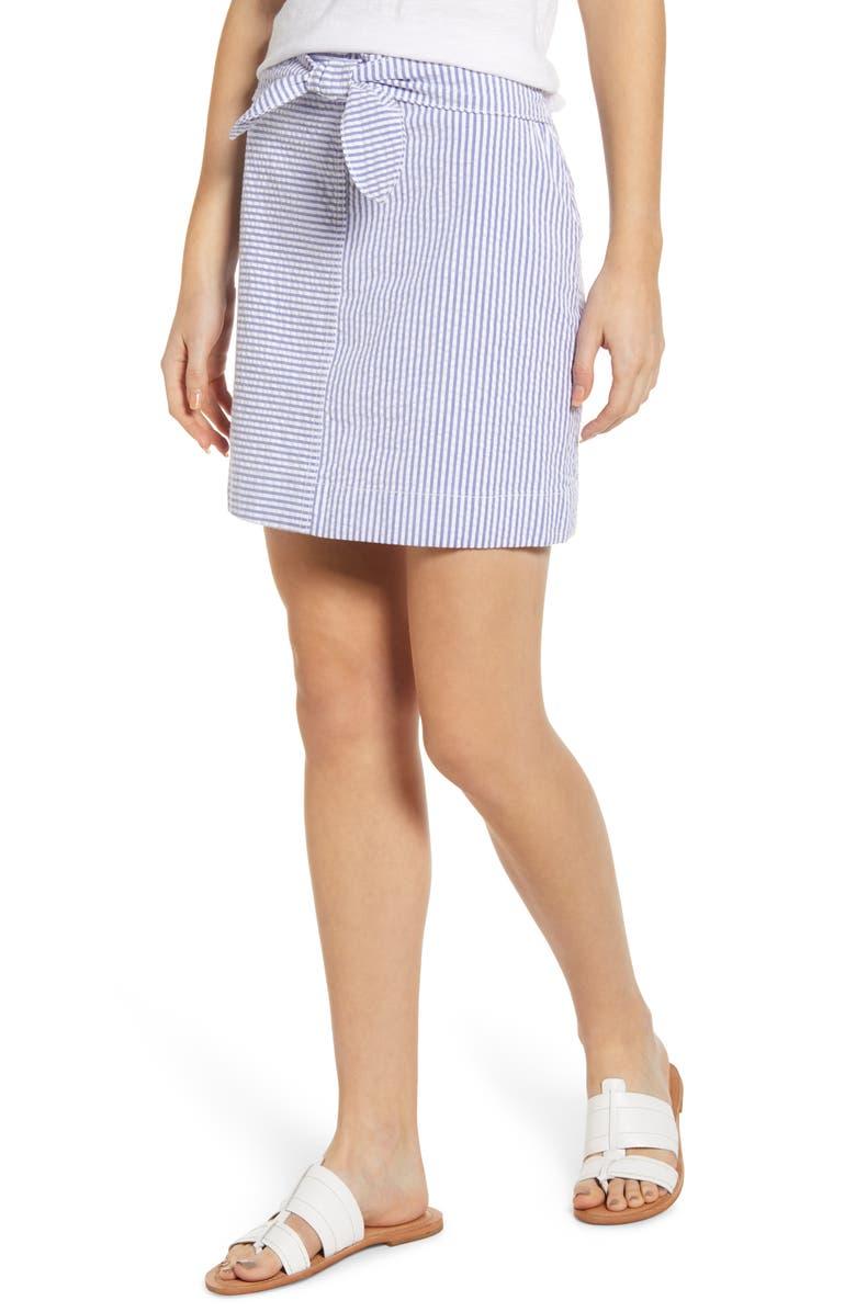VINEYARD VINES Seersucker Tie Front Mini Skirt, Main, color, 461