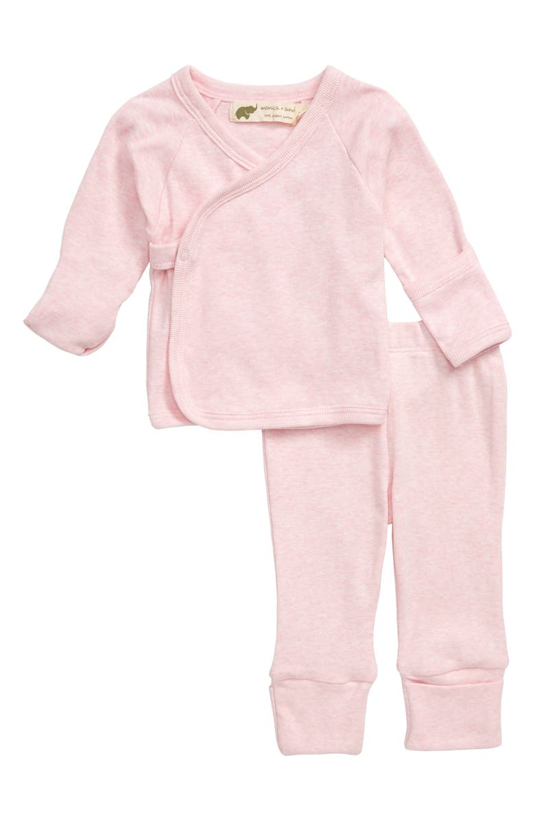 MONICA + ANDY Hello Baby Organic Cotton Wrap Top & Pants Set, Main, color, PINK HEATHER