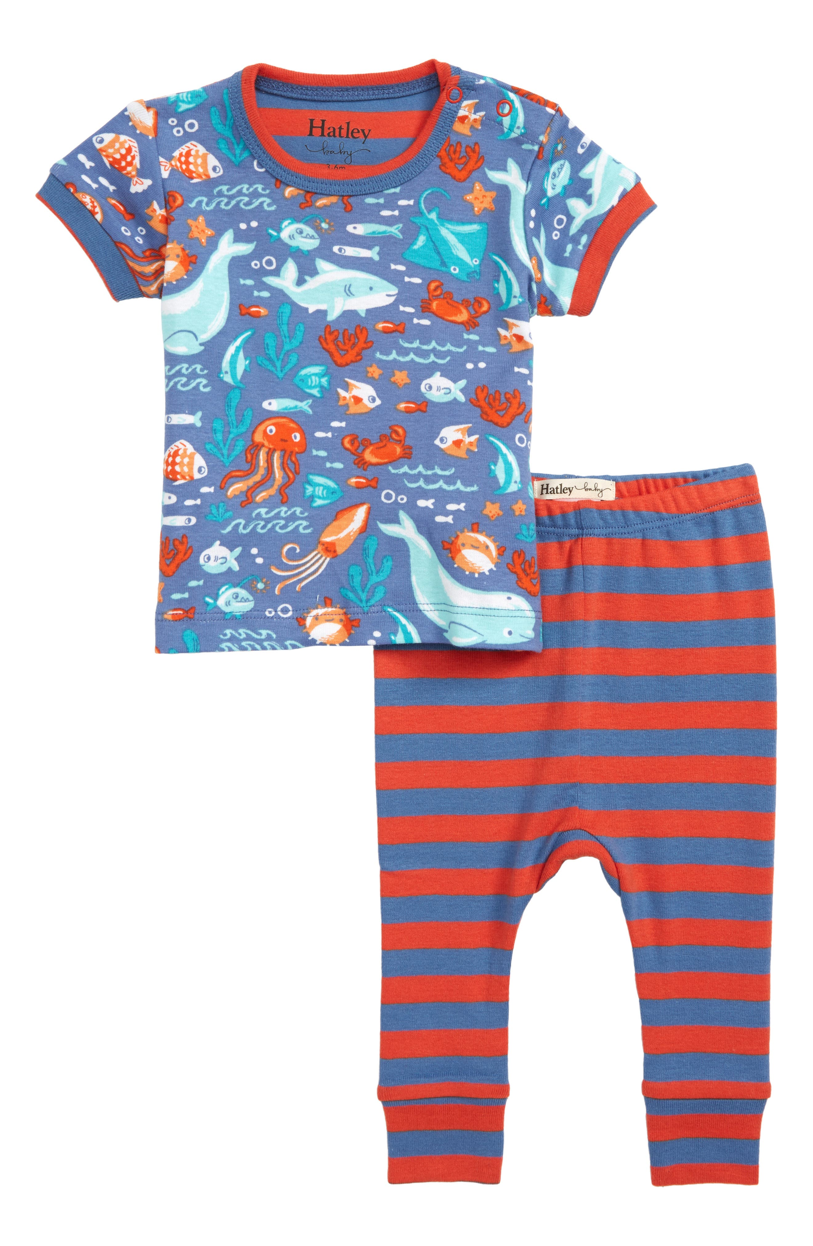 Ocean Friends Organic Cotton Fitted Two-Piece Pajamas, Main, color, BLUE