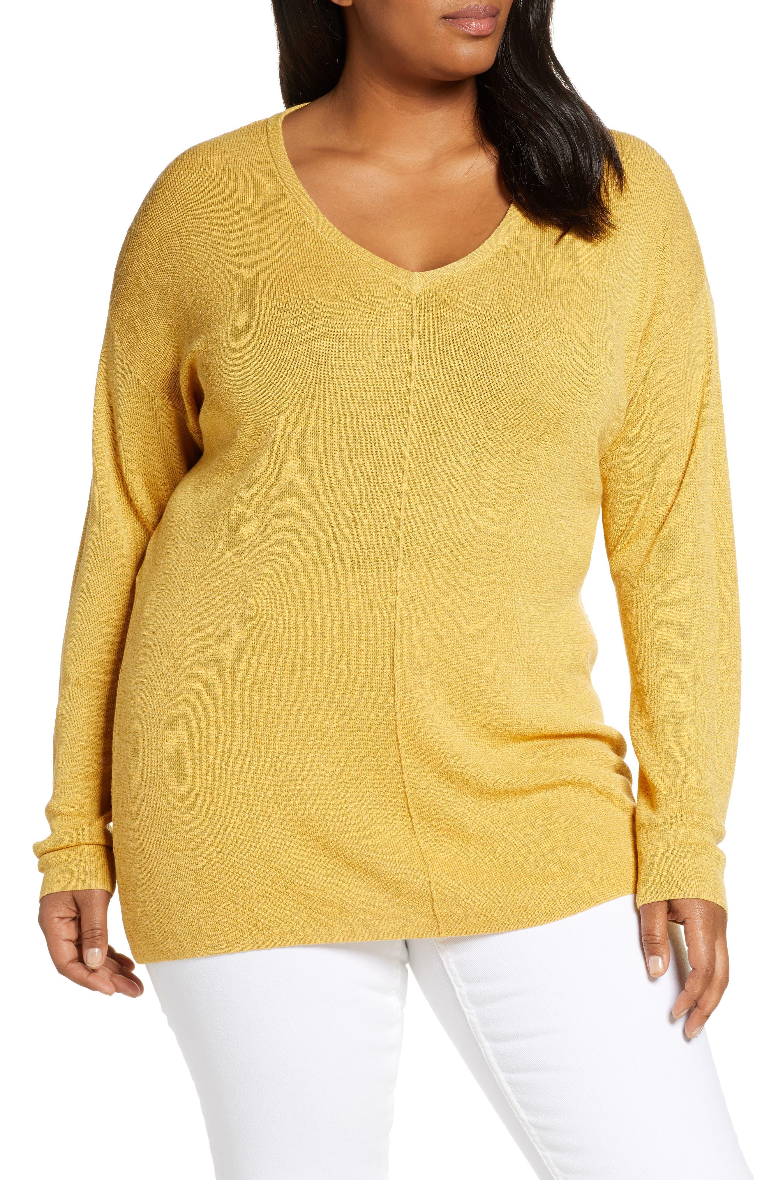 Plus Size Caslon V-Neck Linen Blend Sweater, Yellow