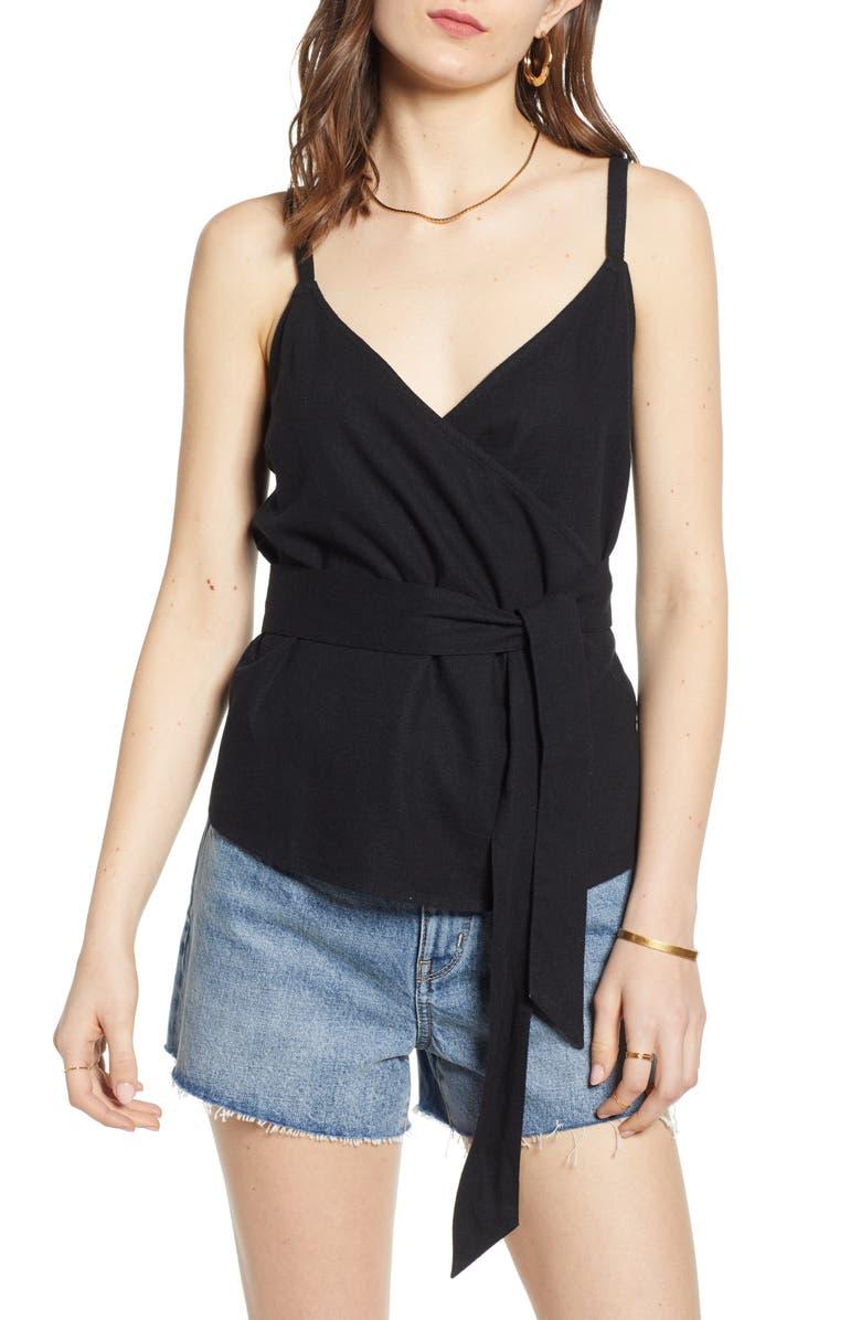 TREASURE & BOND Wrap Style Linen Blend Top, Main, color, 001