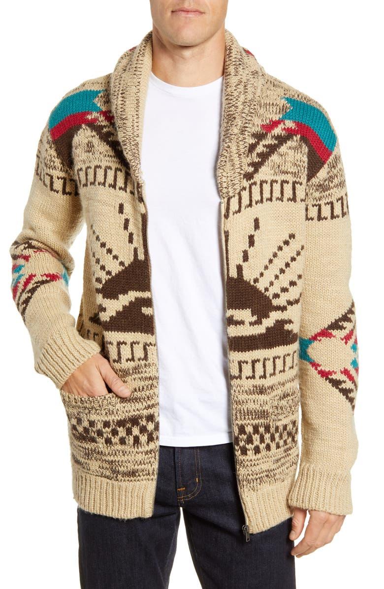 FAHERTY Sun & Waves Cardigan, Main, color, CAMEL MULTI