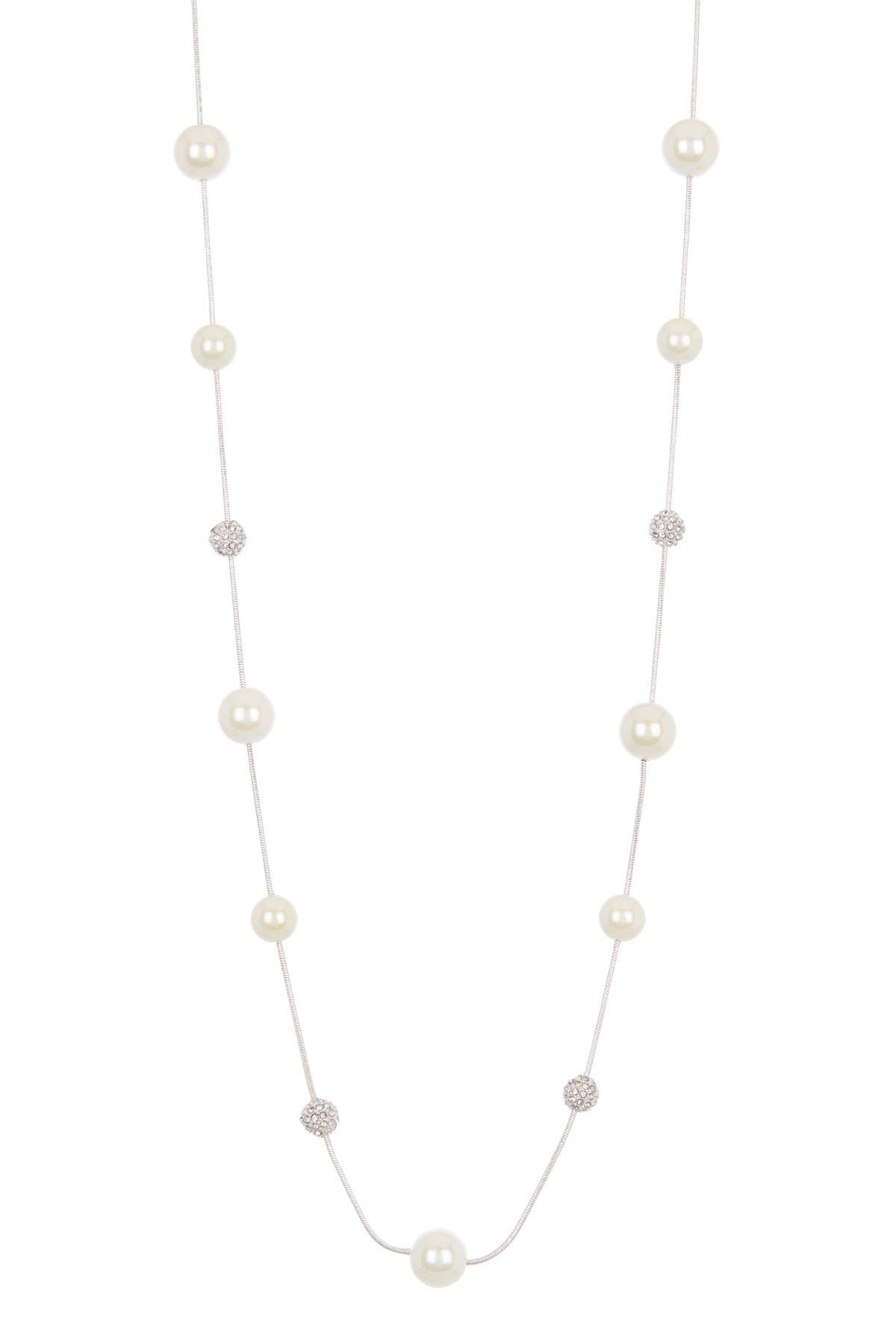 Image of Lauren Ralph Lauren Synthetic Pearl & Pave CZ Ball Station Necklace