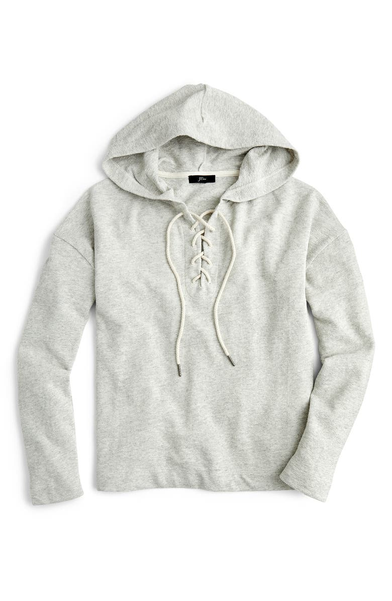 J.CREW Lace-Up Swing Hoodie Pullover Sweatshirt, Main, color, HEATHER STONE