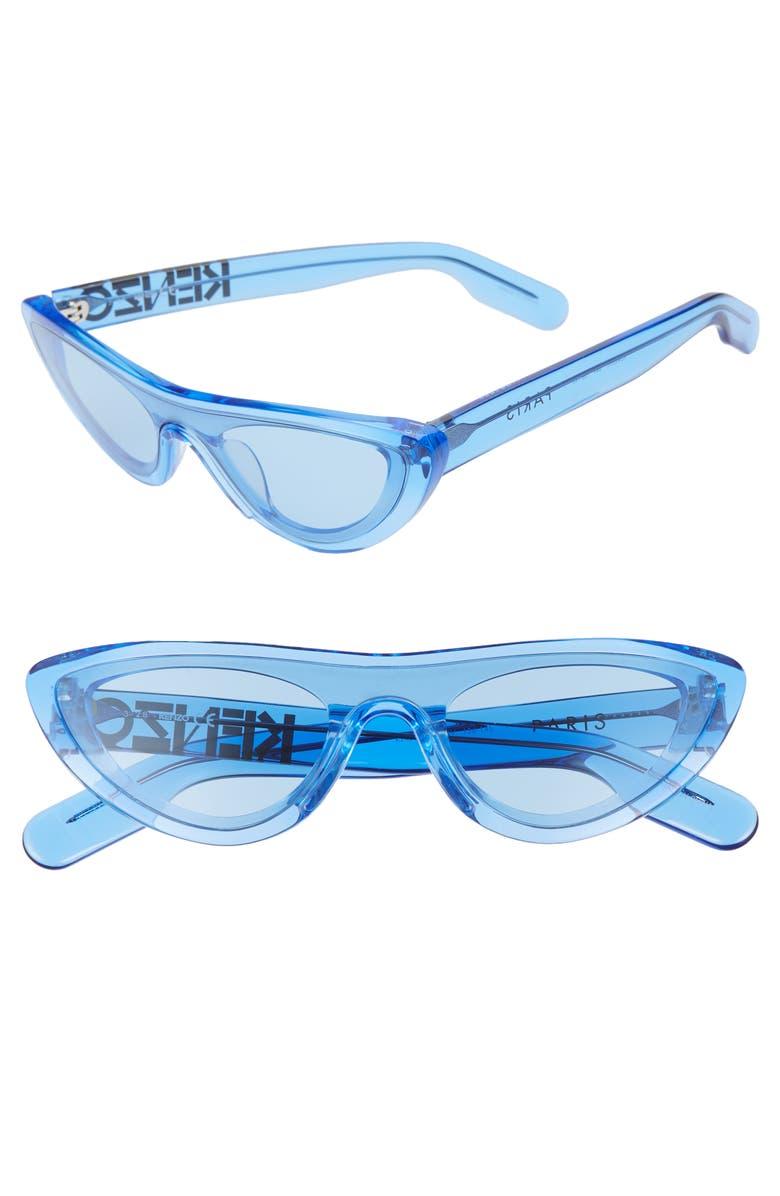 KENZO 55mm International Fit Cat Eye Shield Sunglasses, Main, color, 400