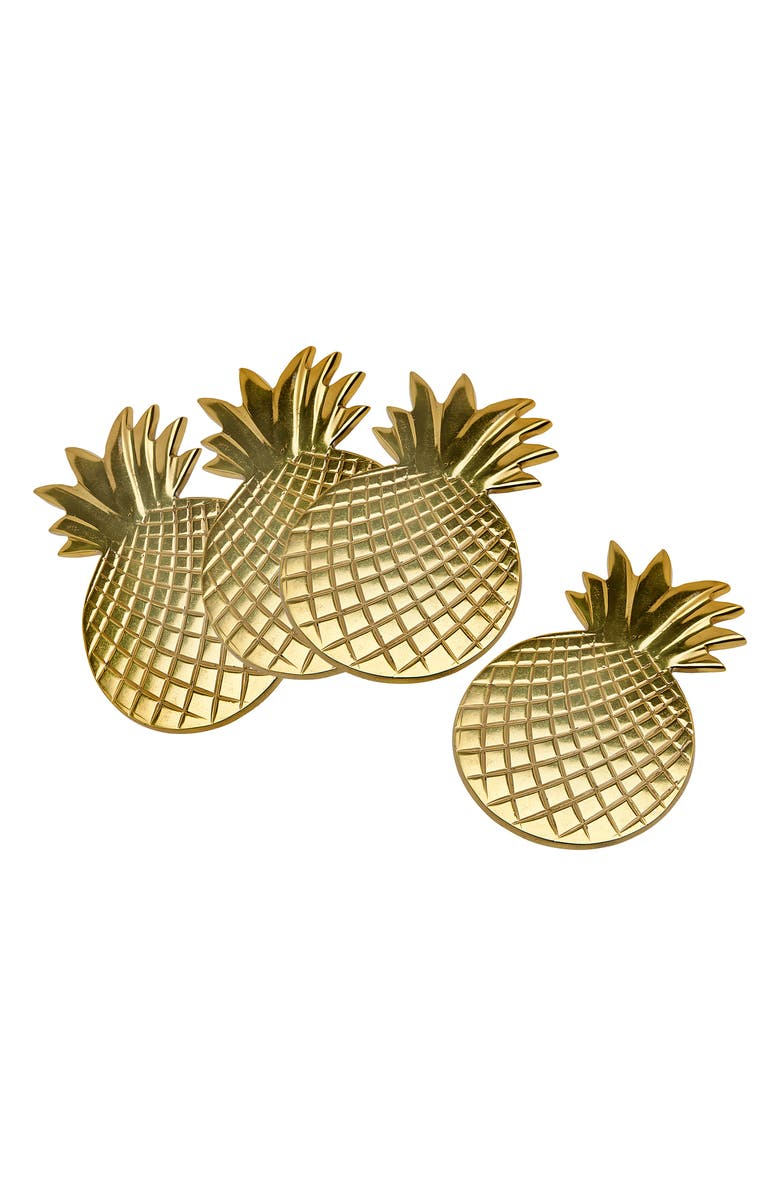 GODINGER Set of 4 Pineapple Coasters, Main, color, GOLD