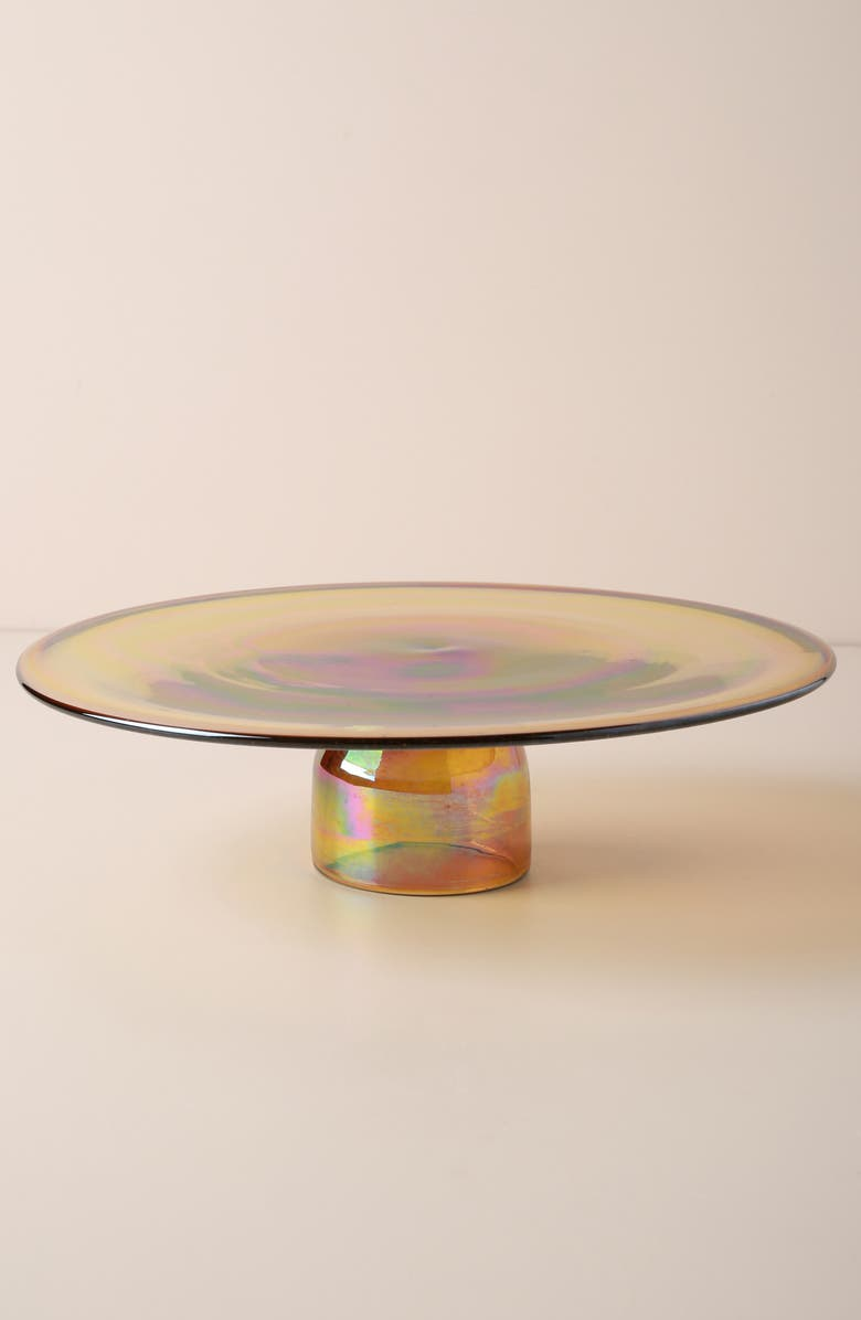 ANTHROPOLOGIE Glass Cake Stand, Main, color, AMBER