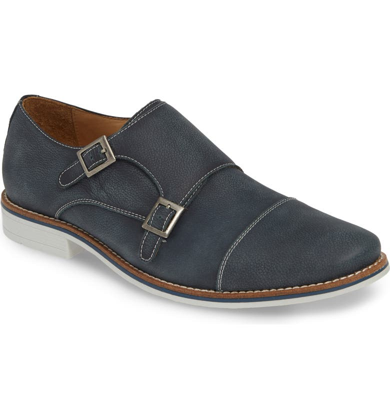 1901 Camino Double Monk Strap Shoe, Main, color, WASHED NAVY LEATHER