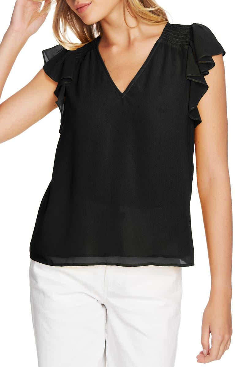 1.STATE Flutter Sleeve Smocked Shoulder Blouse, Main, color, 001