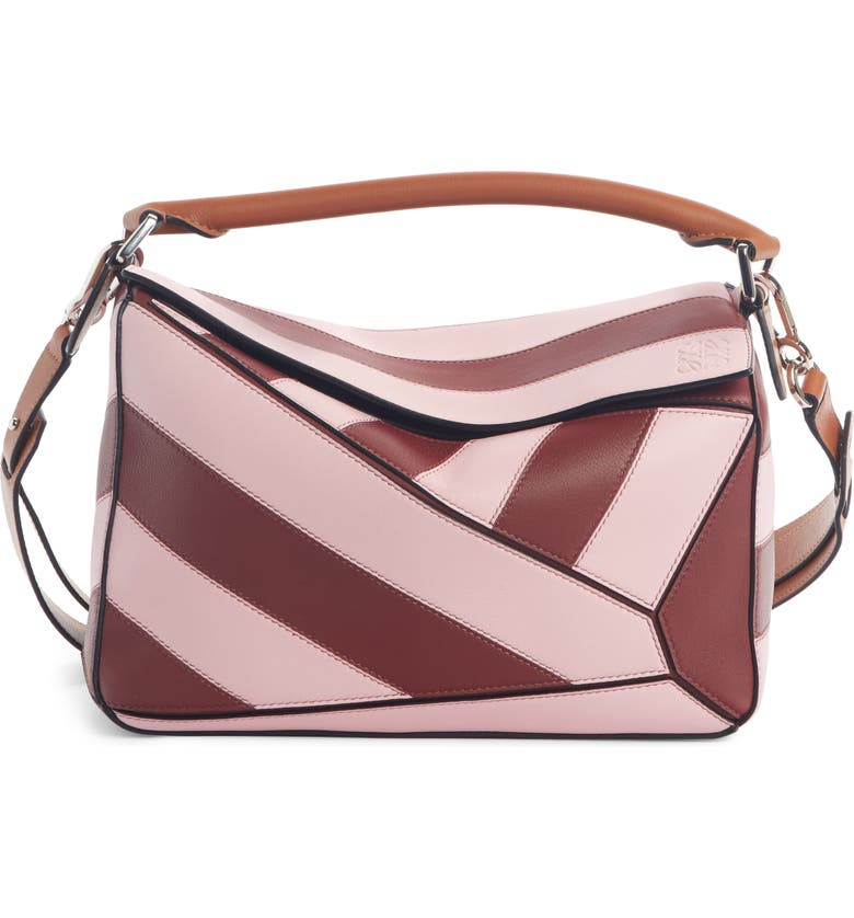 LOEWE Small Puzzle Rugby Srtripe Leather Bag, Main, color, WINE/ PASTEL PINK