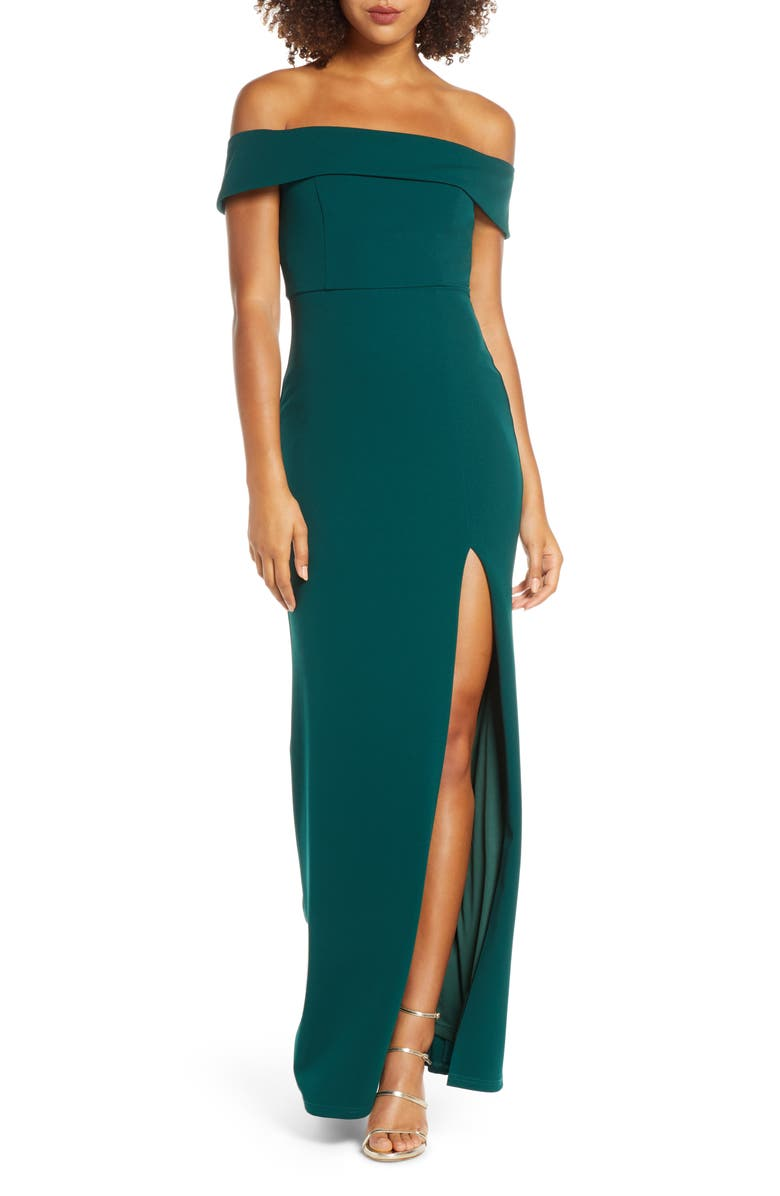 LULUS Off the Shoulder Mermaid Gown, Main, color, FOREST GREEN