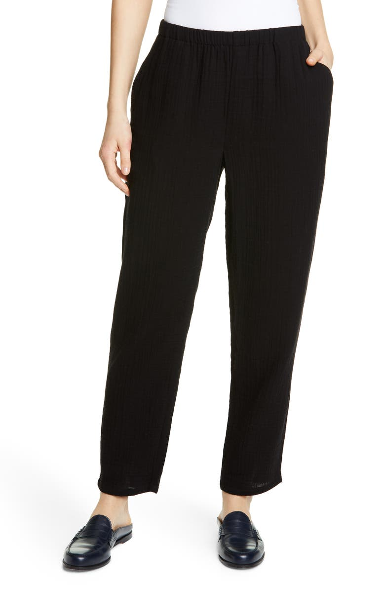 EILEEN FISHER Tapered Organic Cotton Pants, Main, color, BLACK