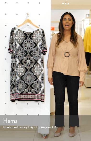 Print Elbow Sleeve Shift Dress, sales video thumbnail