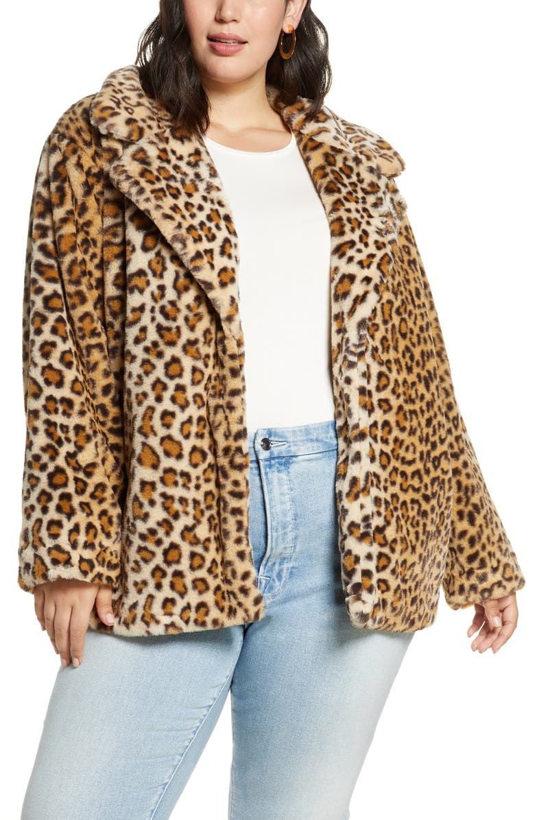 HALOGEN<SUP>®</SUP> Leopard Print Faux Fur Coat, Main, color, LEOPARD