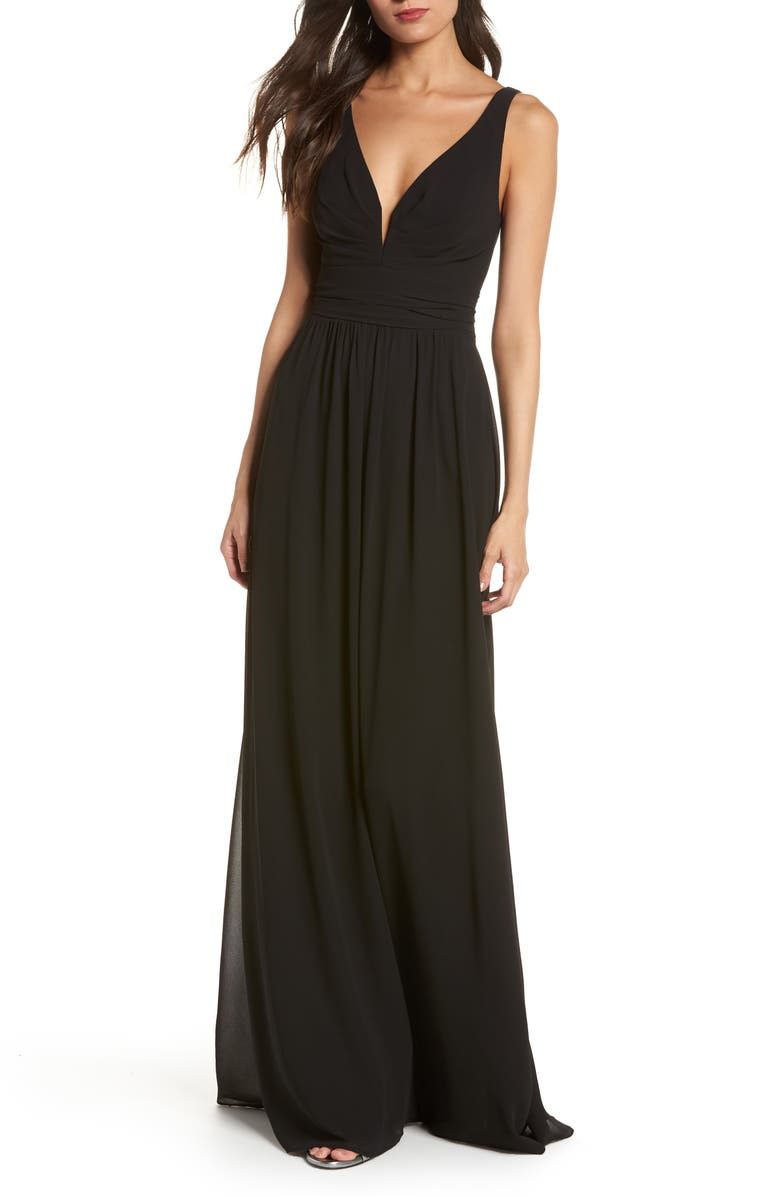 LULUS V-Neck Chiffon Gown, Main, color, BLACK