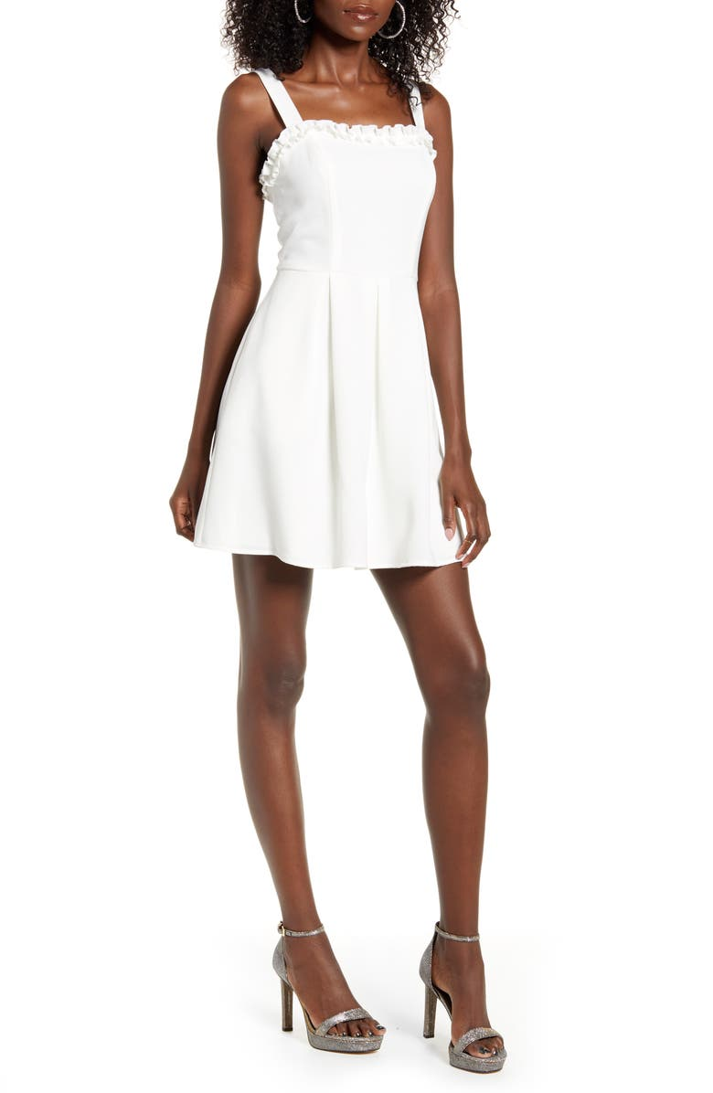 SPEECHLESS Ruffle Trim Sleeveless Minidress, Main, color, WHITE