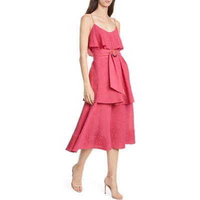 Club Monaco Tiered Midi Dress, Pink