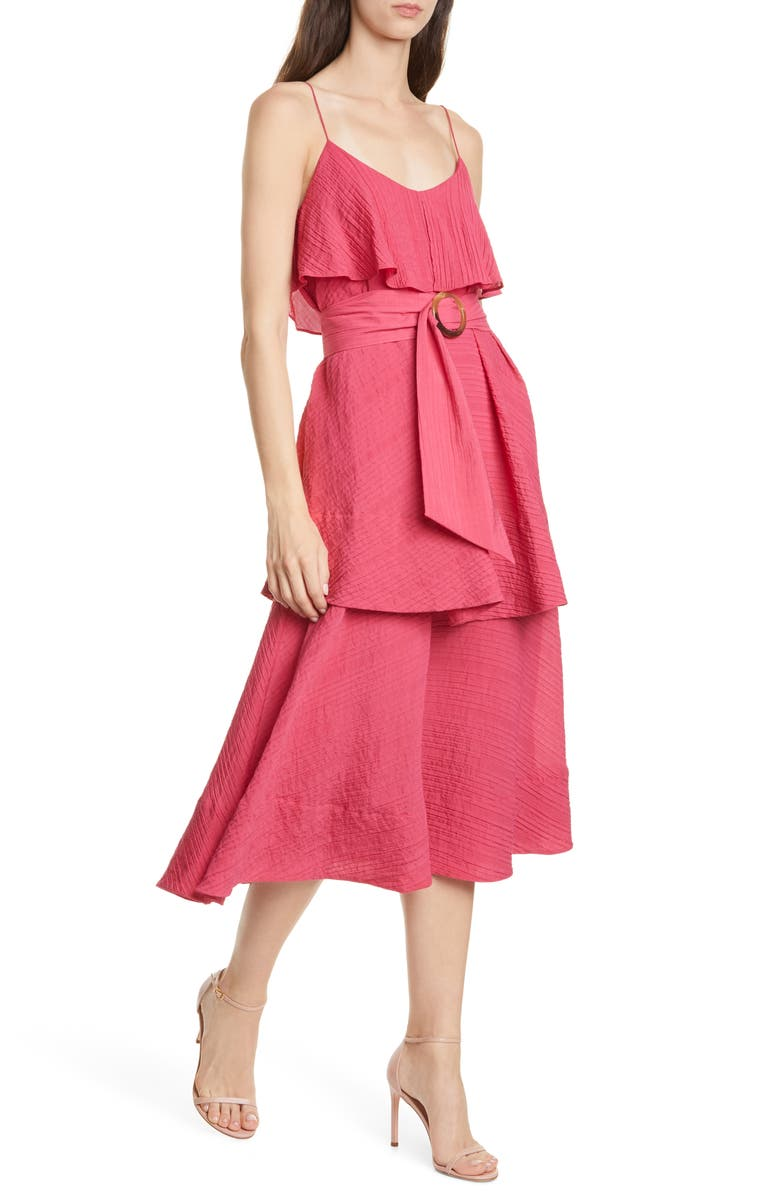 CLUB MONACO Tiered Midi Dress, Main, color, BRIGHT FRAMBROISE