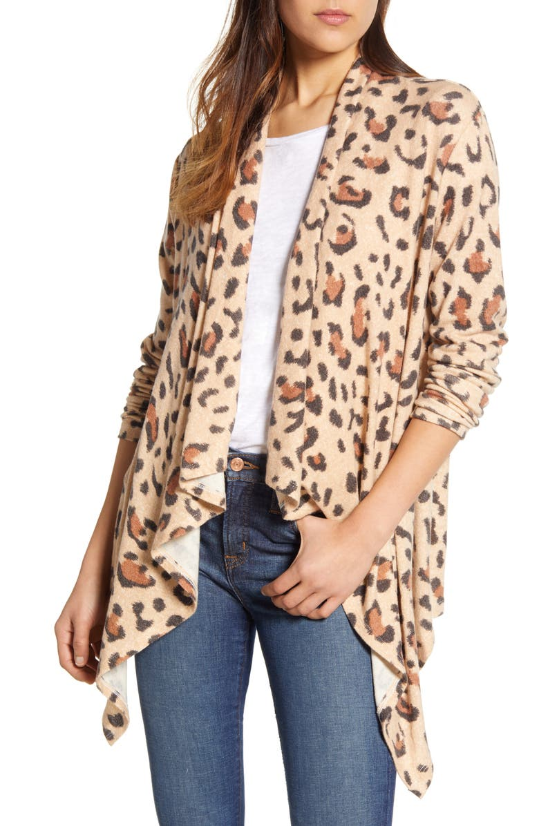 BOBEAU Amie Waterfall Knit Cardigan, Main, color, ROEBUCK