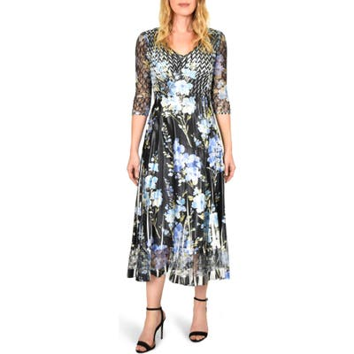 Komarov Floral Print V-Neck Charmeuse Tea Length Dress, Black