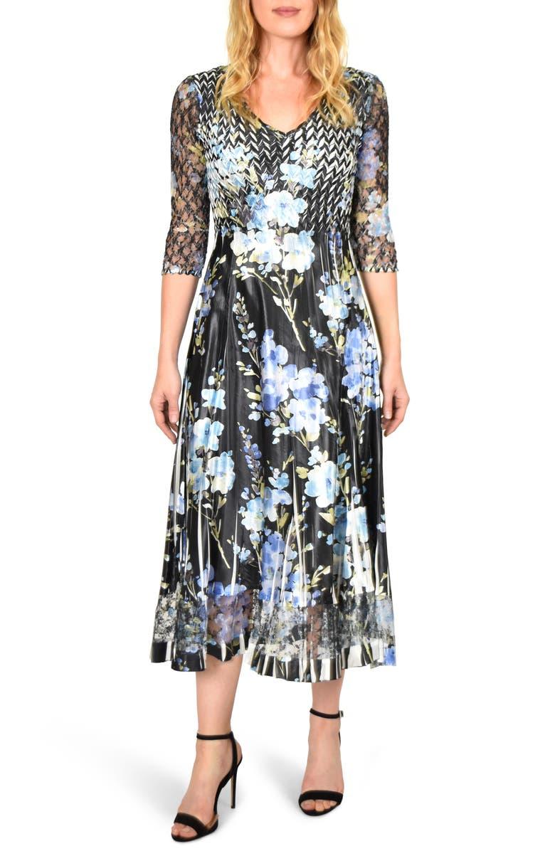 KOMAROV Floral Print V-Neck Charmeuse Tea Length Dress, Main, color, BLACK LAVENDER