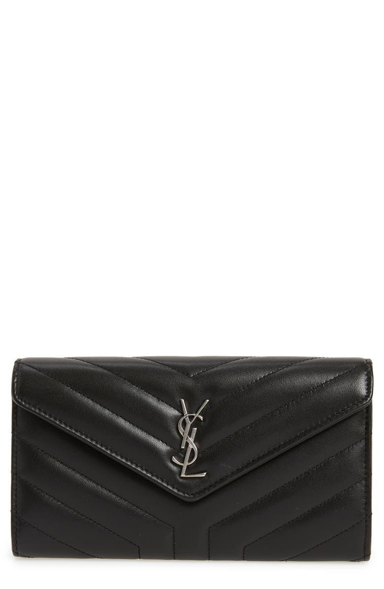 SAINT LAURENT Loulou Large Matelassé Leather Flap Wallet, Main, color, 001