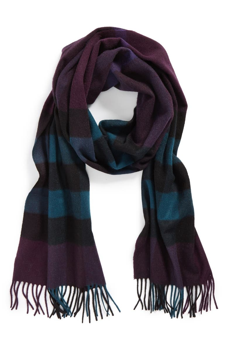BURBERRY Check Cashmere Scarf, Main, color, 001