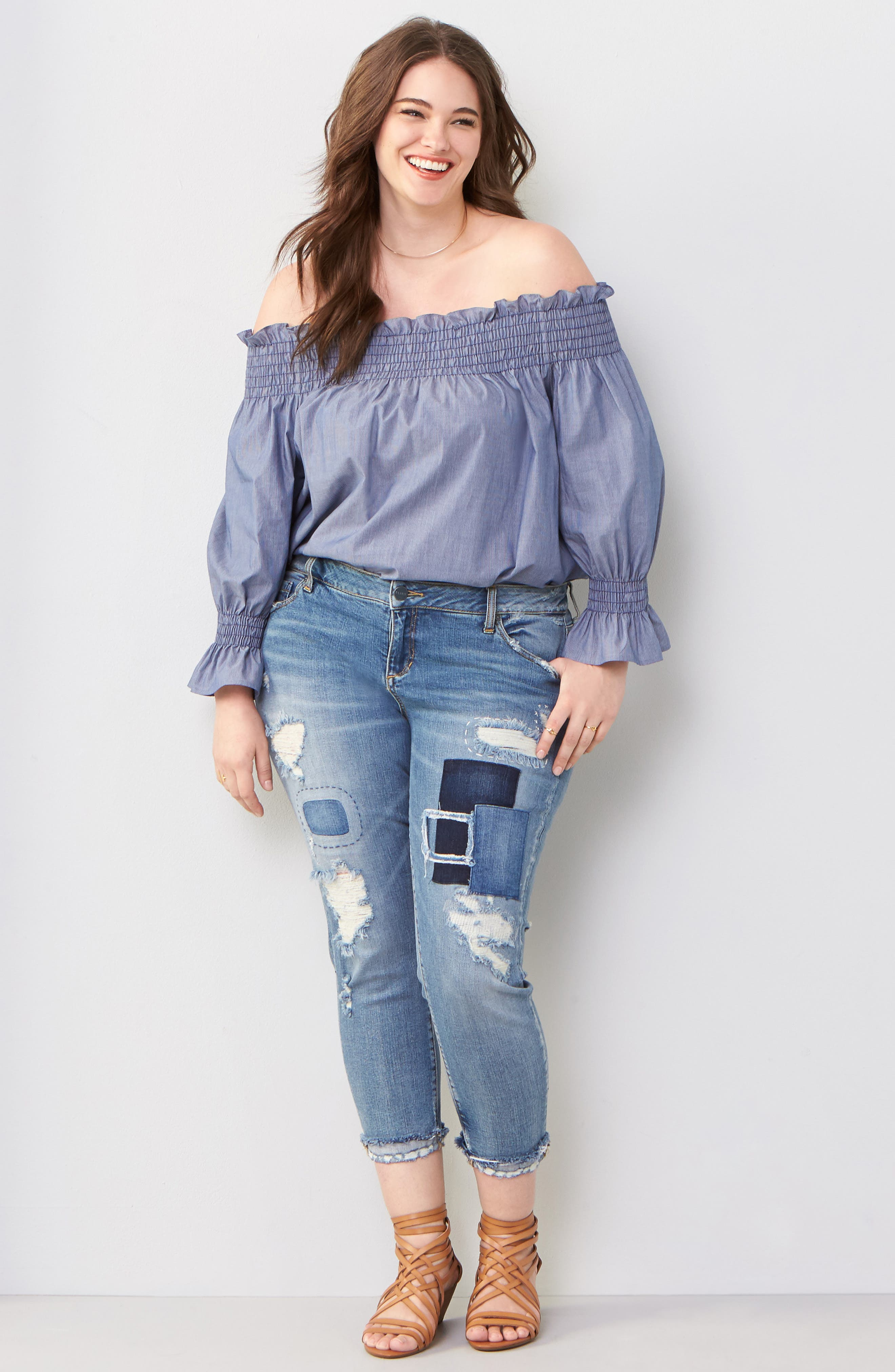 Image of SLINK JEANS Ripped & Patched Boyfriend Jeans
