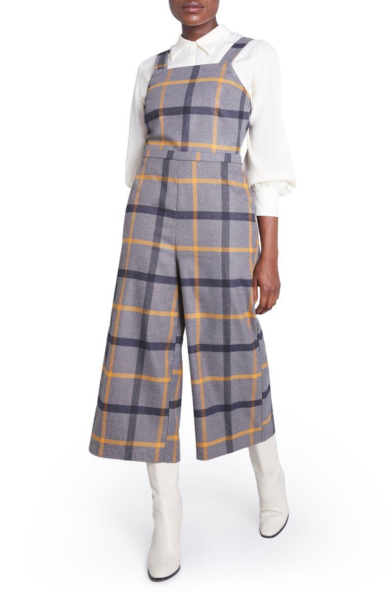 MODCLOTH Grey Plaid Crop Jumpsuit, Main, color, GREY PLAID