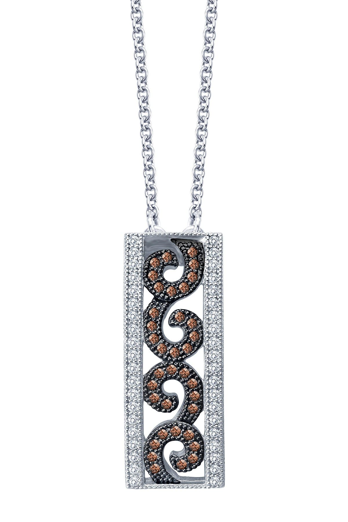 Image of LaFonn Platinum Plated Sterling Silver Micro Pave Simulated Diamond Filigree Pendant Necklace