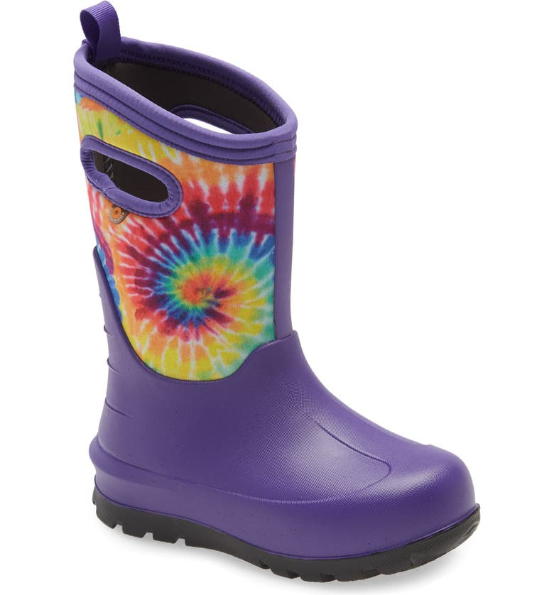 BOGS Neo Classic Tie Dye Insulated Waterproof Boot, Main, color, VIOLET/ RAINBOW