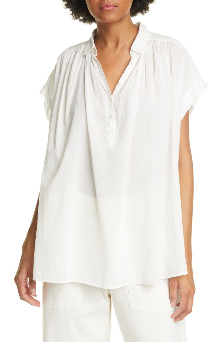 NILI LOTAN Normandy Gathered Yoke Blouse, Main, color, IVORY