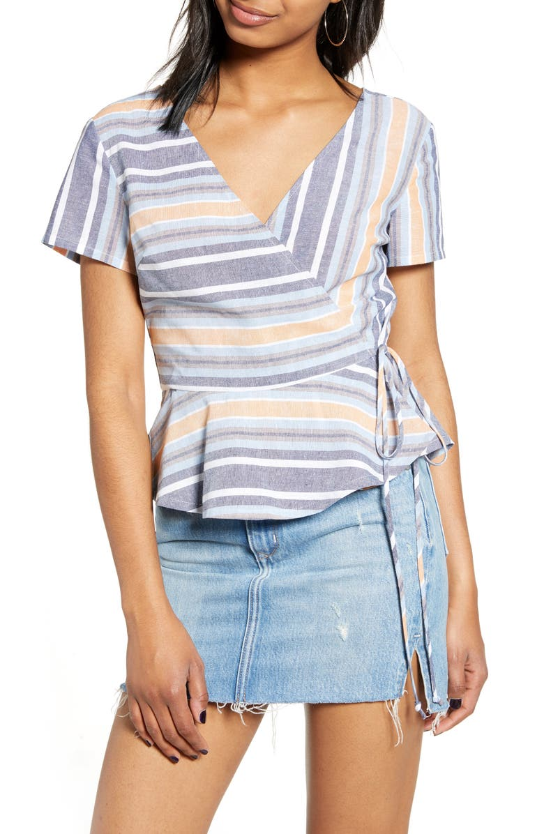 HIATUS Stripe Wrap Top, Main, color, 400