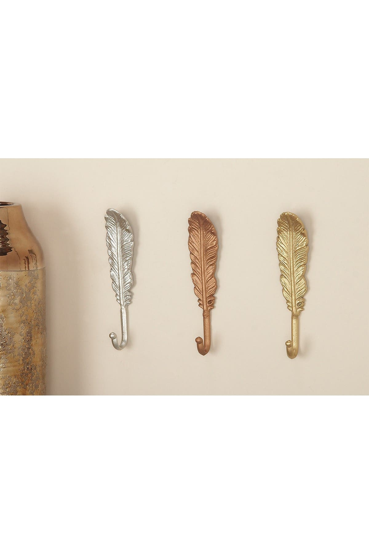 Image of CosmoLiving by Cosmopolitan Metal Feather Hook - Set of 3
