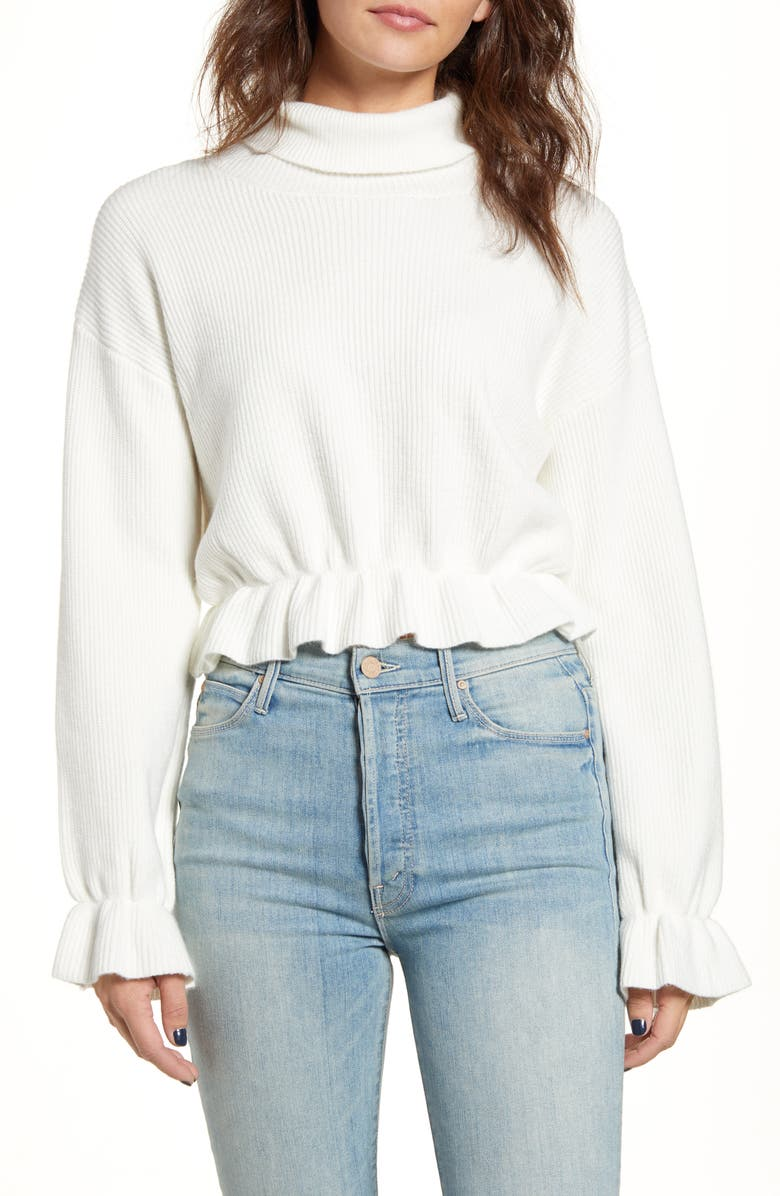 MINKPINK All My Friends Frill Hem Ribbed Sweater, Main, color, 100