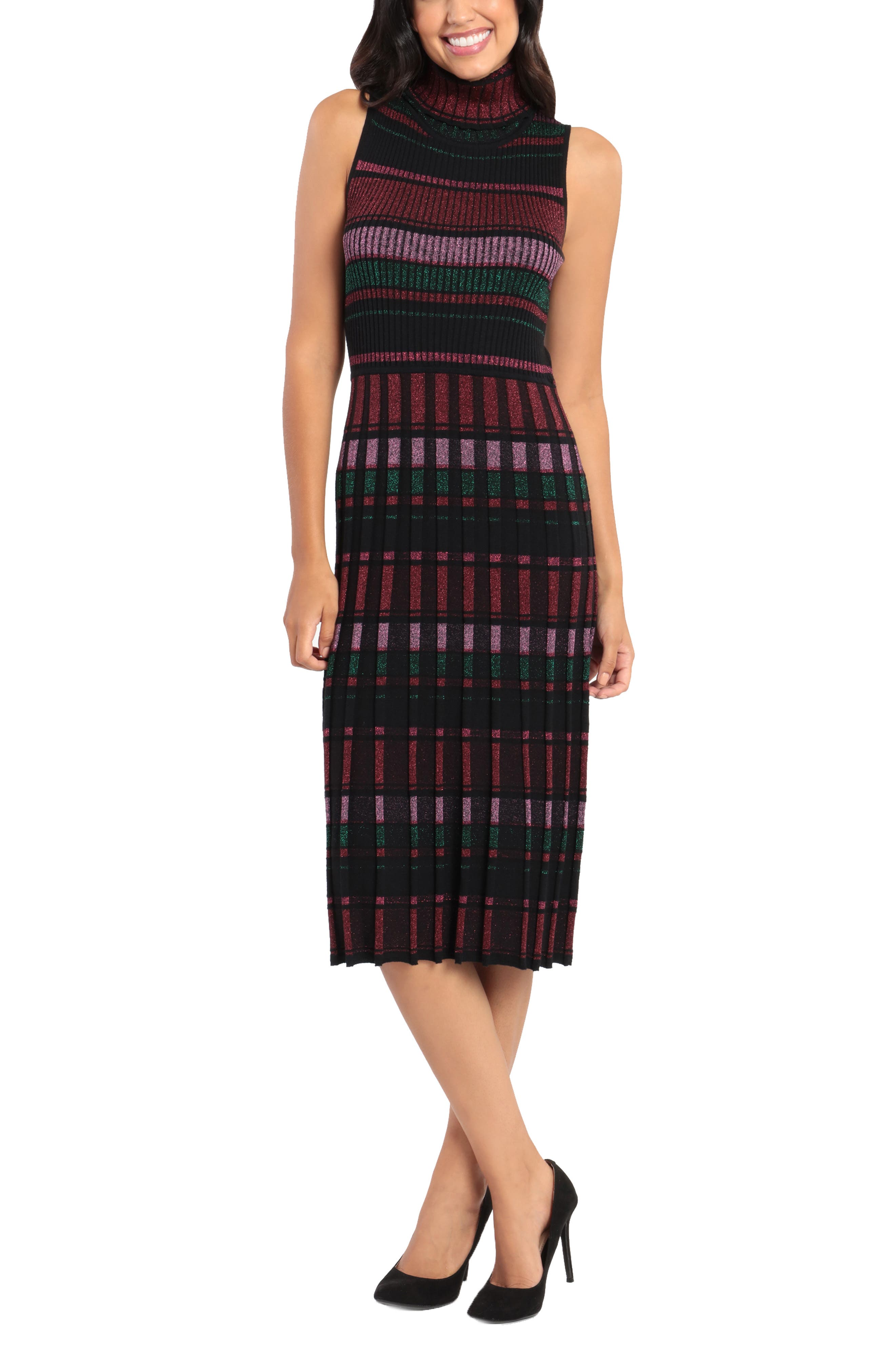Mock Neck Midi Sweater Dress