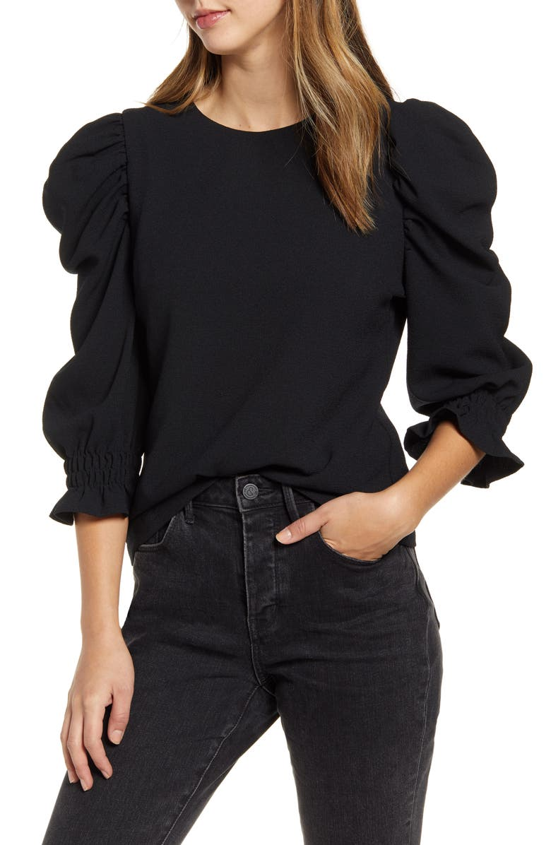 RACHEL PARCELL Puff Sleeve Top, Main, color, BLACK