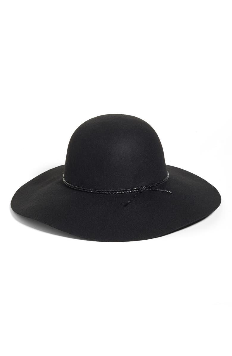 HALOGEN<SUP>®</SUP> Wool Floppy Hat, Main, color, Black