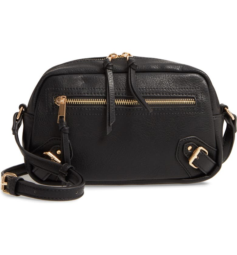 SOLE SOCIETY Dael Faux Leather Crossbody Bag, Main, color, BLACK