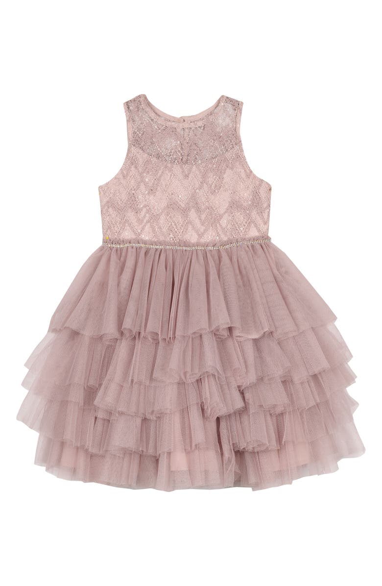 BADGLEY MISCHKA COLLECTION Beaded Tulle Party Dress, Main, color, BLUSH