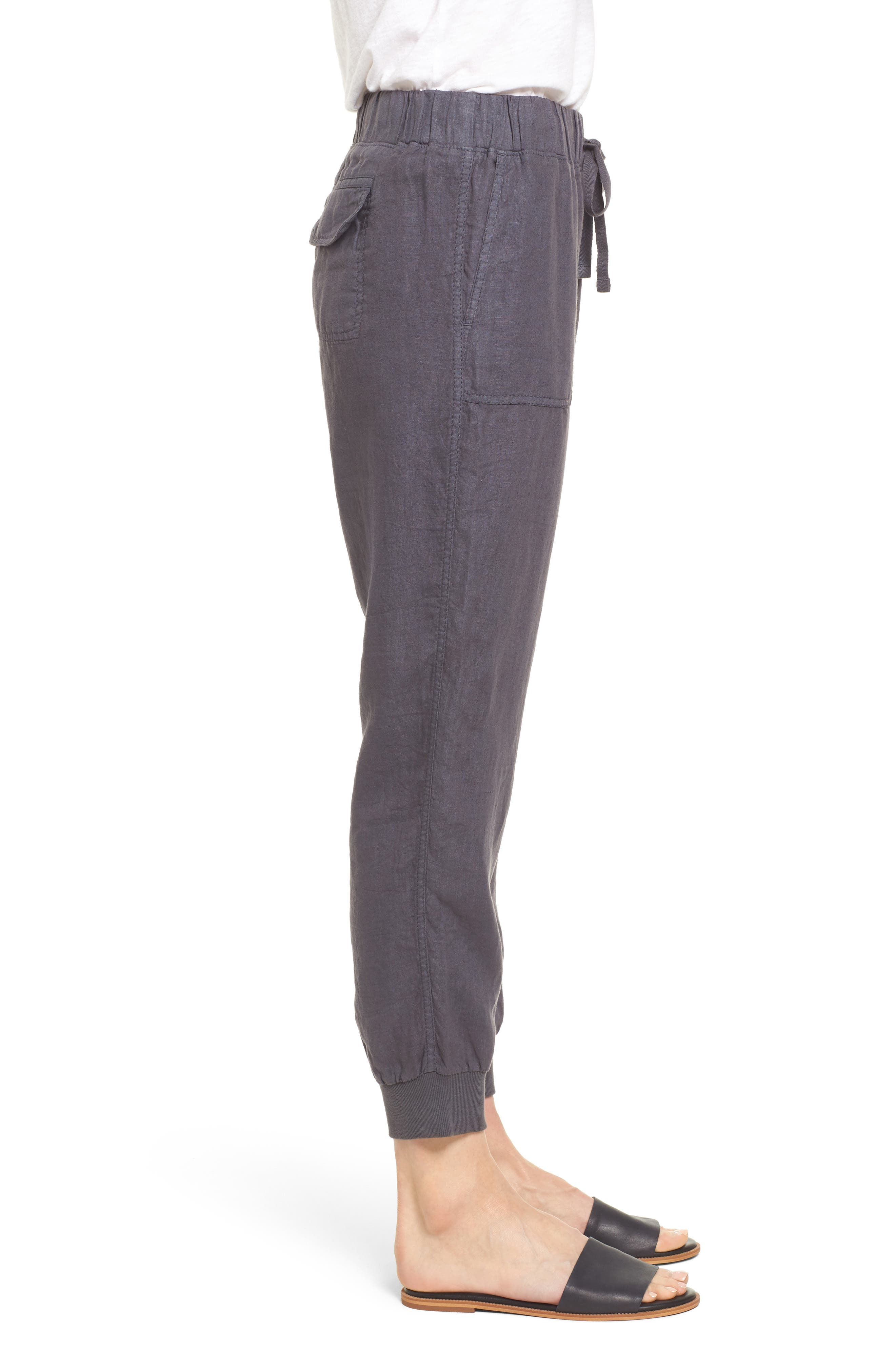 ,                             Linen Jogger Pants,                             Alternate thumbnail 4, color,                             GREY EBONY