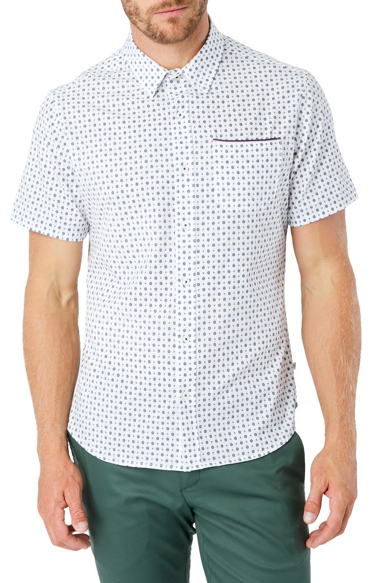 7 DIAMONDS Another Dimension Slim Fit Short Sleeve Button-Up Shirt, Main, color, WHITE