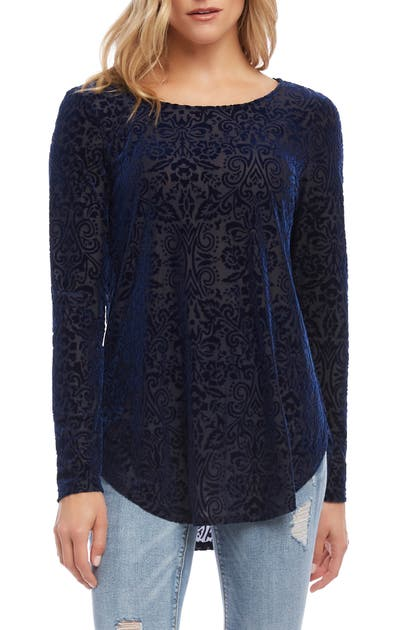 Karen Kane  VELVET BURNOUT SHIRTTAIL BLOUSE