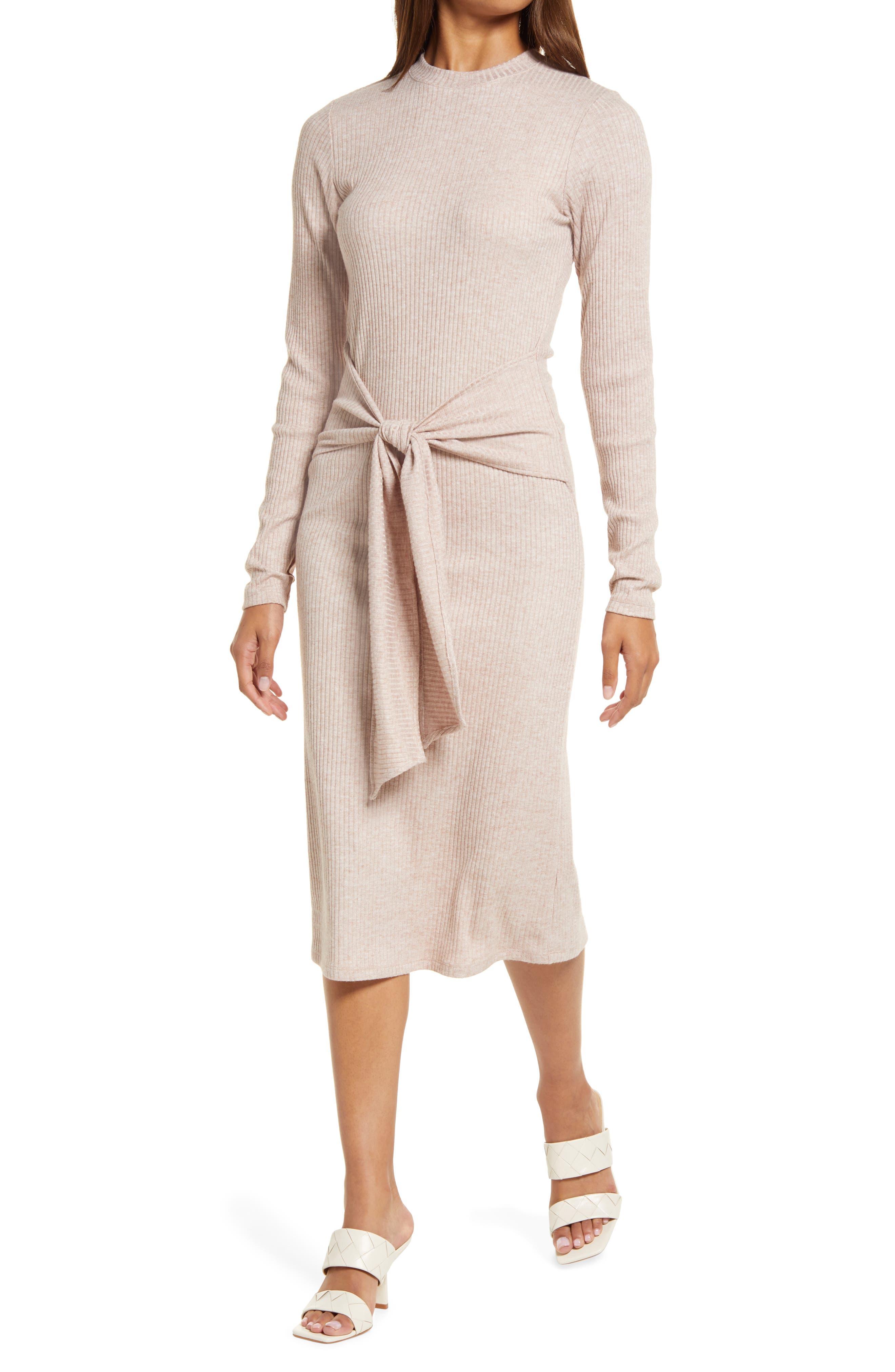 Long Sleeve Rib Sweater Dress