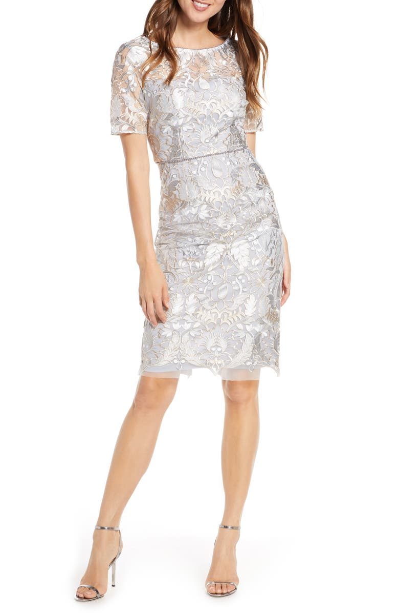 ADRIANNA PAPELL Beaded Lace Cocktail Dress, Main, color, SILVER MULTI