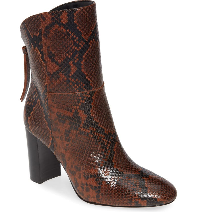 CHARLES DAVID Billard Snake Embossed Boot, Main, color, CHOCOLATE SNAKE PRINT